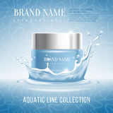 Advertising of cosmetics. Excellent cosmetics advertising, hydrating cream. For announcement sale or promotion new product. Blue cream bottle on original Royalty Free Stock Photography