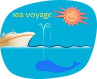Sea Voyage. Advertising design template of cruise offer royalty free illustration