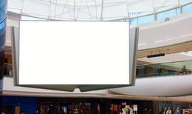 Advertising display blank billboard. Blank billboard in shopping mall. Empty indoor advertising display inside modern commercial building royalty free stock images