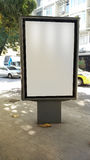 Advertising display in Rio de Janeiro sidewalk Stock Photos