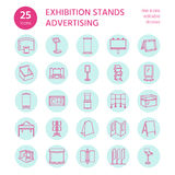 Advertising exhibition banner stands, display line icons. Brochure holders, pop up boards, bow flag, billboard folding Royalty Free Stock Photography