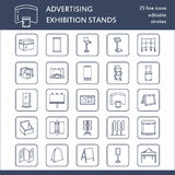 Advertising exhibition banner stands, display line icons. Brochure holders, pop up boards, bow flag, billboard folding Royalty Free Stock Images