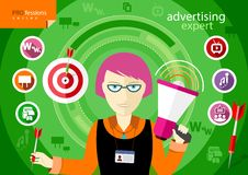 Advertising expert of marketing profession series. Woman holding a megaphone and darts with item icons Stock Images