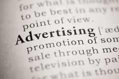 Advertising. Fake Dictionary, Dictionary definition of the word Advertising Royalty Free Stock Image
