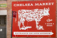 Advertising for the famous covered market `Chelsea Market` in New York City, USA royalty free stock photography