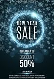 Advertising festive poster for the New Year`s sale. Blue shining banner of luminous twisted lines. Great discounts. Christmas sno Stock Photo