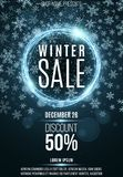 Advertising festive poster for the winter sale. Blue shining banner of luminous twisted lines. Great discounts. Christmas snow. Gl. Are bokeh. Vector Stock Photography