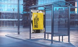 Bus stop 3d rendering. Advertising frame on a bus stop 3d rendering Royalty Free Stock Images