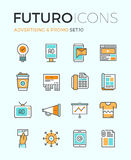 Advertising futuro line icons Royalty Free Stock Photos