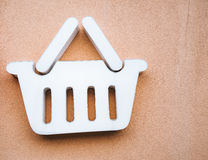 Advertising the grocery store. Shopping basket. A sign of the st Stock Photo