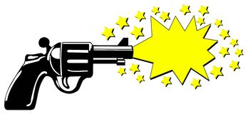 Advertising gun. A gun with an advertising star, in which you can place adverting, special offers etc. Available as Illustrator-file stock illustration