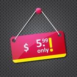 Advertising hanging price tag
