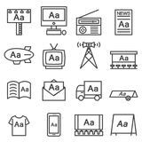 Advertising icon line Set Stock Images