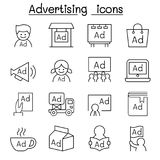 Advertising icon set in thin line style Stock Images