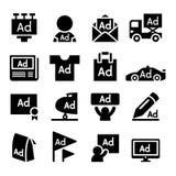 Advertising icon set Stock Photos