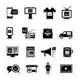 Advertising Icons Black Stock Photography
