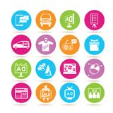 Advertising icons. Collection of 16 advertising icons in colorful buttons royalty free illustration