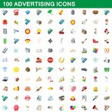 100 advertising icons set, cartoon style. 100 advertising icons set in cartoon style for any design illustration royalty free illustration