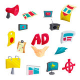 Advertising icons set, cartoon style Stock Photography
