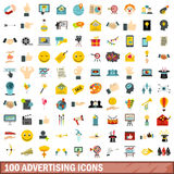 100 advertising icons set, flat style Stock Photo