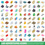 100 advertising icons set, isometric 3d style. 100 advertising icons set in isometric 3d style for any design vector illustration royalty free illustration
