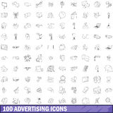 100 advertising icons set, outline style. 100 advertising icons set in outline style for any design vector illustration Stock Images