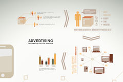 Advertising infographics - icons, graphs, charts Stock Photography