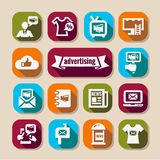 Advertising long shadows icons set Stock Photo