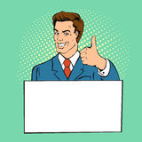 Advertising man with banner place for text. Businessman gives thumb up retro comics style royalty free illustration