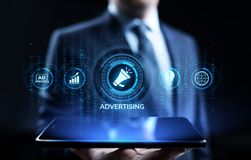 Advertising Marketing Sales Growth Business concept on screen. stock illustration