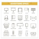 Advertising media constructions spaces vector thin line icons set Stock Photos