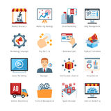 Advertising Media Flat Design Icons Stock Photo