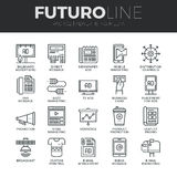 Advertising Media Futuro Line Icons Set Stock Image