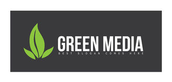 Advertising Media Logo Concept with Green Leafs Stock Images