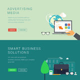 Advertising media and smart business solution banners Royalty Free Stock Images