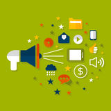 Advertising a megaphone. The megaphone shouts advertising. A vector illustration royalty free illustration