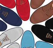 Advertising men's shoes assorted colors and sizes. Business style in clothes. Vector Stock Images