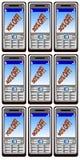Advertising mobil phones stock image