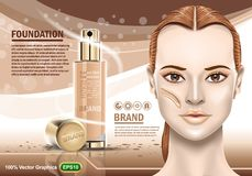 Advertising of moisturizing cosmetic and nice girl showing perfect healthy skin. Realistic Image template. EPS 10 Vector graphics stock illustration