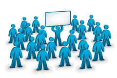 The advertising one. A person in the crowd with a banner in his hands royalty free illustration