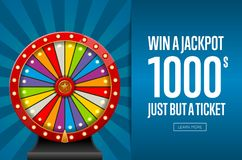 Advertising page promoting lottery. Design of webpage advertising jackpot winner with wheel of fortune Stock Photo