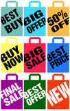 Advertising paper bags. Collection of colorful advertising paper bags with slogans. Available as EPS-file Royalty Free Stock Photos