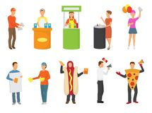 Advertising people vector advertiser or promoter character promoting advertisement on promo stand or illustration set of. Man in costume hot dog distributing Royalty Free Stock Photos