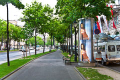 Advertising pillar in the streets of Vienna Stock Photos
