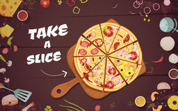 Advertising Of Pizza Cartoon Illustration Royalty Free Stock Images