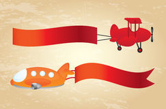 Advertising planes. Over vintage background vector illustration Stock Photo