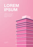 Advertising poster with abstract architecture. Pink background with skyscraper. Vertical placard with place for text. Colorful vector illustration Stock Photo