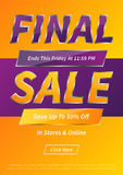 Advertising poster Final Sale vector layout. A4 size Royalty Free Stock Image