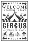 Advertising poster invitation to the circus. Vintage vector illustration Royalty Free Stock Images