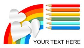 Advertising poster with pencil in rainbow colors and paper hearts Royalty Free Stock Photography